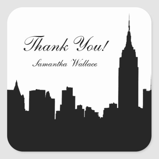 NYC Skyline Silhouette, Empire State Bldg #1 Square Stickers
