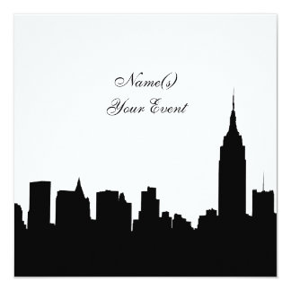 NYC Skyline Silhouette, ESB #1 BW SQ2 Party Invite
