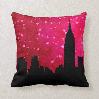 NYC Skyline Silhouette, ESB #1 Pink Red Heart Cushion