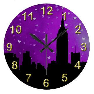 NYC Skyline Silhouette, ESB #1 Purple Hearts Large Clock