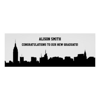 NYC Skyline Silhouette Graduation Party Banner Poster