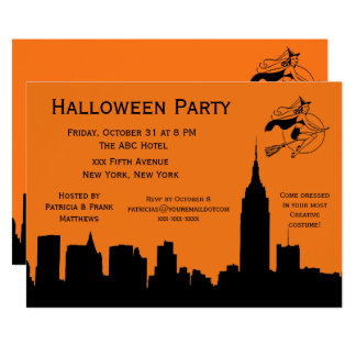 NYC Skyline Silhouette Halloween Cheeky Witch Card