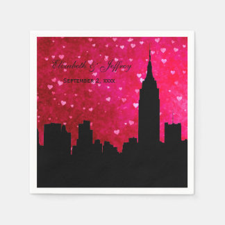 NYC Skyline Silhouette Hot Pink Red Heart Disposable Napkin