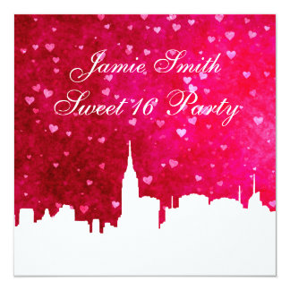 NYC Skyline Silhouette Ht Pink Red Heart Sweet 16 Card