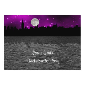 NYC Skyline Silhouette Moon Purple Bachelorette Card