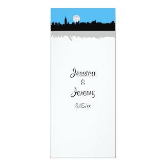 NYC Skyline Silhouette Moon Sky Blu Menu Reception 10 Cm X 24 Cm Invitation Card