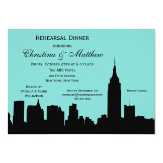 NYC Skyline Silhouette Rehearsal Dinner #E Card