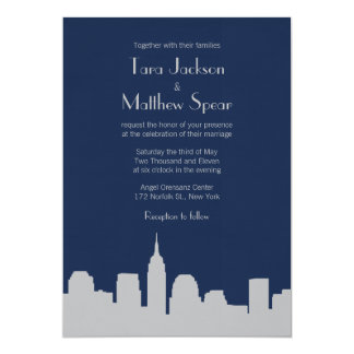NYC Skyline Wedding Invitation - Navy / Silver