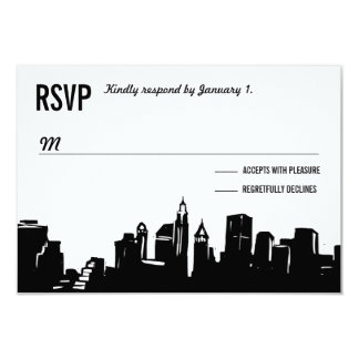 NYC Skyline   Wedding RSVP Cards 9 Cm X 13 Cm Invitation Card