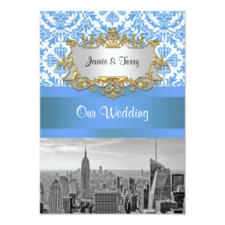 NYC SNYC Skyline BW D4 Damask Wedding Invitation V