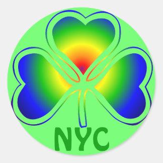 NYC St. Patrick's Day Rainbow Shamrock Sticker