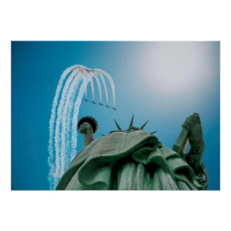 NYC Statue of Liberty and Jets Flying Above Poster