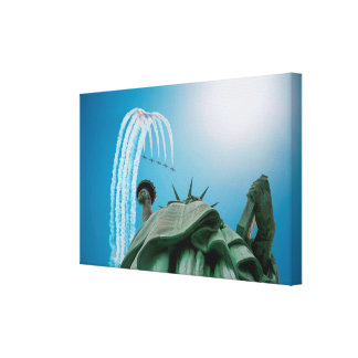 NYC Statue of Liberty and Jets Flying Above Poster Canvas Print