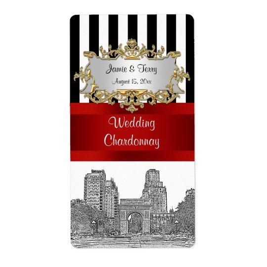 NYC Washingtn Sq Pk Blk Wht Stripe Red Wine Label