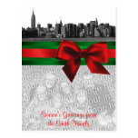 NYC Wide Skyline Etched BW Christmas Your Photo Post Cards