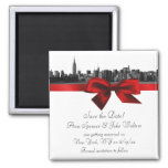 NYC Wide Skyline Etched BW Dark Red Save the Date
