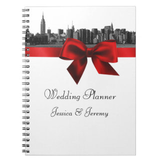 NYC Wide Skyline Etched BW Dk Red Planner Notebook