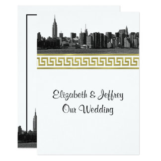 NYC Wide Skyline Etched BW Gold GK #5 Wedding Card