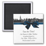 NYC Wide Skyline Etched BW Navy Blue Save the Date