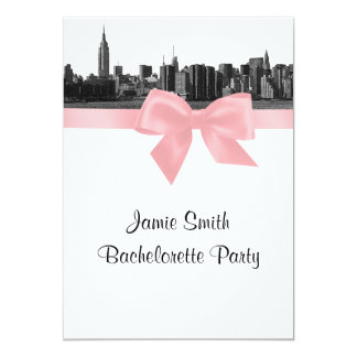 NYC Wide Skyline Etched BW Pink Bachelorette Party 13 Cm X 18 Cm Invitation Card