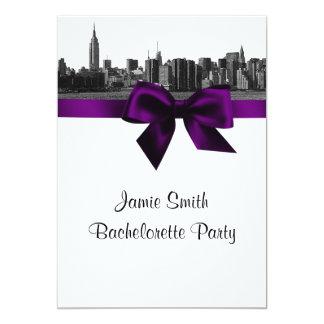 NYC Wide Skyline Etched BW Purple Bachelorette Pty 13 Cm X 18 Cm Invitation Card