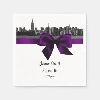 NYC Wide Skyline Etched BW Purple Sweet Sixteen Disposable Serviettes
