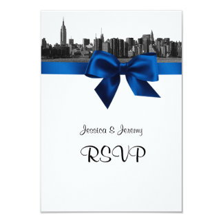 NYC Wide Skyline Etched BW Royal Blue RSVP #2 Card
