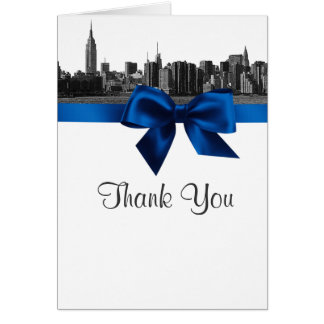 NYC Wide Skyline Etched BW Royal Blue Thank You Card