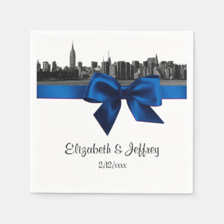 NYC Wide Skyline Etched BW Royal Blue Wedding Disposable Serviette