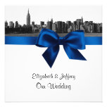 NYC Wide Skyline Etched BW Royal Blue Wedding SQ Personalized Announcements