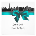 NYC Wide Skyline Etched BW Teal Sweet Sixteen SQ
