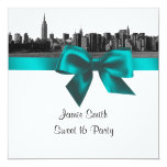 NYC Wide Skyline Etched BW Teal Sweet Sixteen SQ 13cm X 13cm Square Invitation Card