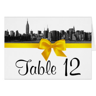 NYC Wide Skyline Etched BW Yellow Table Number