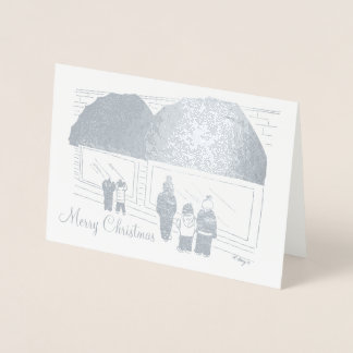 NYC Window Shopping Merry Christmas Holiday Xmas Foil Card