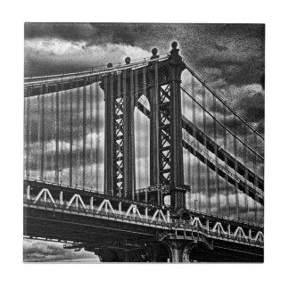 NYC's Manhattan Bridge BW A1 Small Square Tile