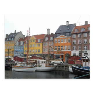 Nyhaven Boats and Canal Copenhagen Denmark Postcard