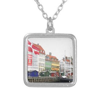 Nyhavn canal in Copenhagen, Danmark Silver Plated Necklace