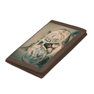 Nylon Wallet: Funny Cat with Glasses Tri-fold Wallets