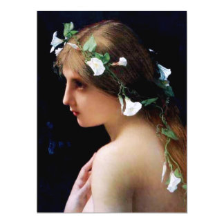 Nymph with Morning Glory Flowers in Her Hair 17 Cm X 22 Cm Invitation Card