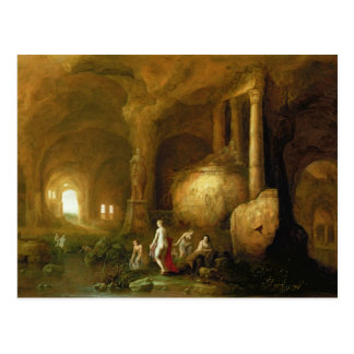 Nymphs Bathing by Classical Ruins Postcard