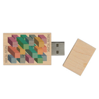NYNY USB Flash Drive Wood USB 2.0 Flash Drive