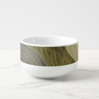 NZ Herons Semi-Abstract Soup Bowl With Handle