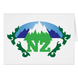 NZ (NEW ZEALAND) with a mountain range trendy Card