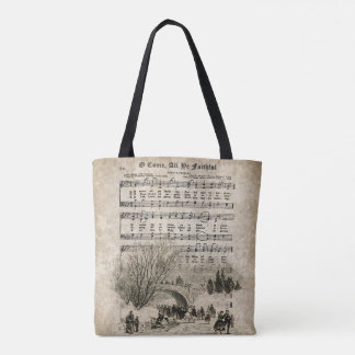 O Come All Ye Faithful Vintage Christmas Carol Bag