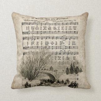 O Come All Ye Faithful, Vintage Christmas Pillow