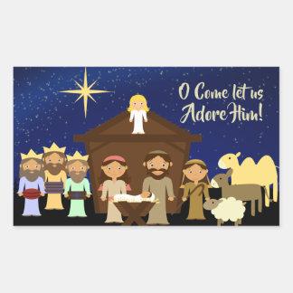 O Come Let us Adore Him, Christmas Nativity Rectangular Sticker