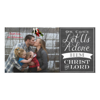 O Come Let Us Adore Him Greeting Card Customised Photo Card