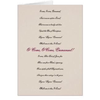 O Come, O Come, Emmanuel Lyrics Christmas Card