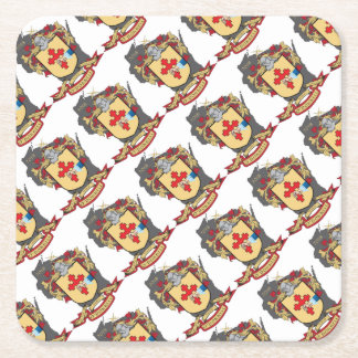 """O""""Donnell Family Crest_Wisconsin Party Favors Square Paper Coaster"""