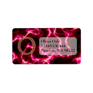 "O Faux-""Ruby"" Monogram  With Lightening Address Label"
